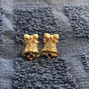 Avon Christmas Holiday Bell CZ Garnet Earrings